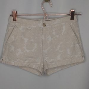 A&F Size 0 White Rose Shorts Golden Highlights